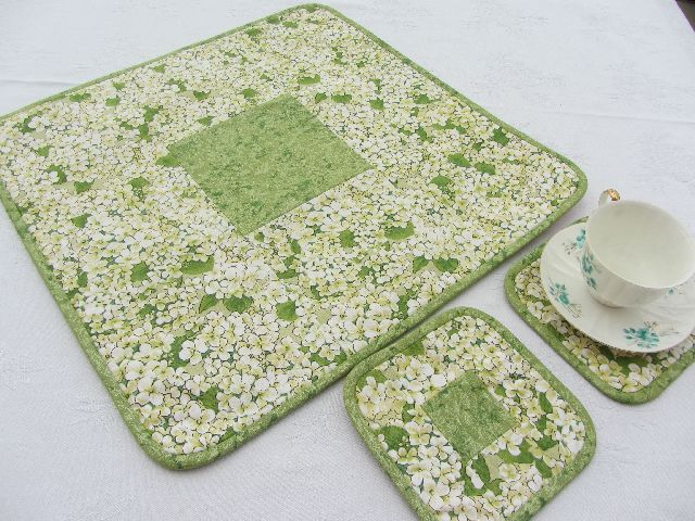 Ubrus zelený hortensie s podložkami