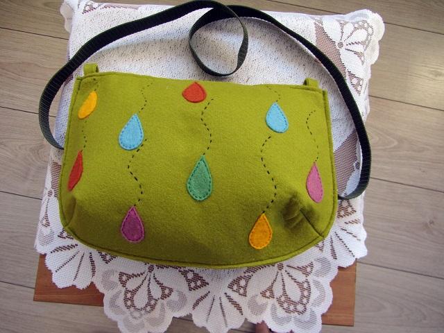 Plstěná kabelka zelená s aplikací