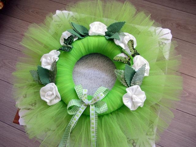 Velikonoční věnec tylový zelený